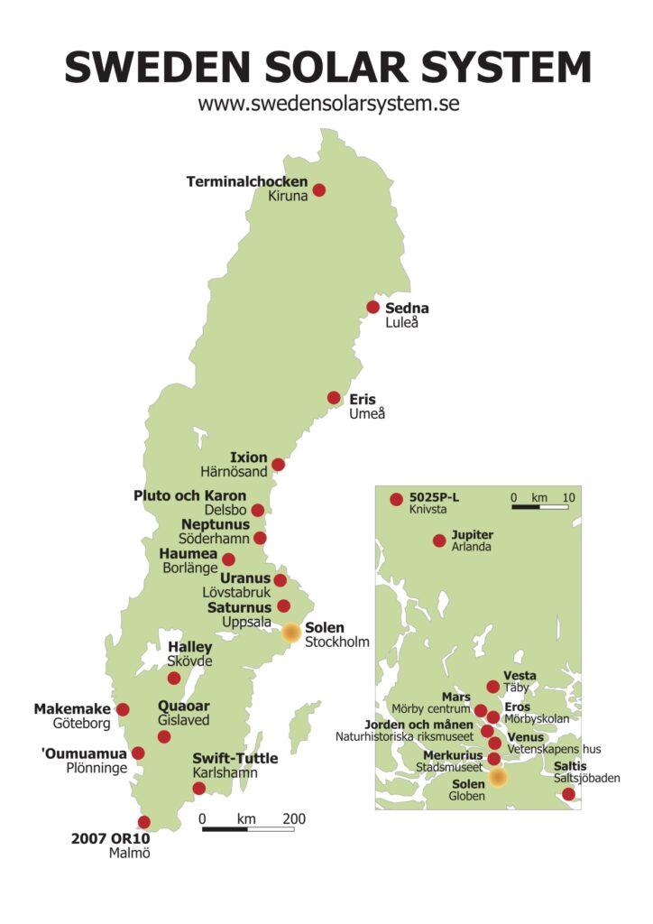 Vagbeskrivningar Och Karta Sweden Solar System